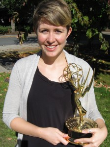 Jodie Martinson holds her Emmy for Ghana: Digital Dumping Ground
